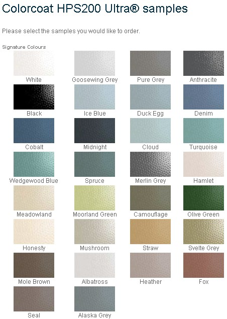 steel roof colour samples Corus